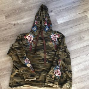 Johnny Was Camo Embroidered Hoody